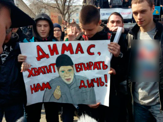 Плакат со Ступиным на митинге Навального