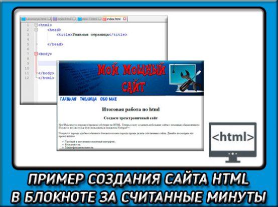 Пример создания сайта в блокноте html