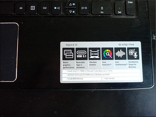 Проверить модель ноутбука на этикетке