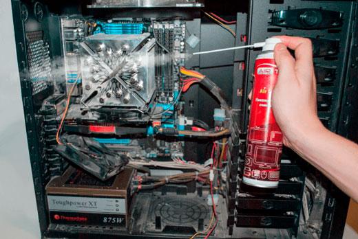Очистка компьютера баллончиком со сжатым воздухом