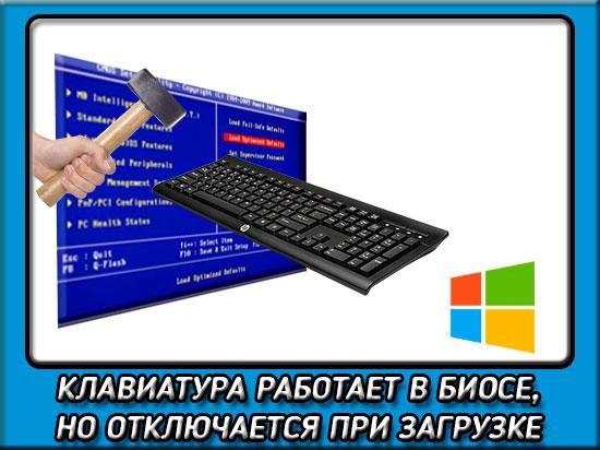 Клавиатура работает только в биосе