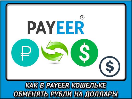 Как обменять рубли на доллары в Payeer